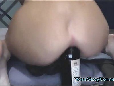 Extreme Beer Bottle Anal And Vaginal Insertion For Skinny Indian